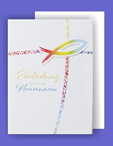 Feste Feiern zur Kommunion I 5 Teile Einladung Doppelkarten mit Briefumschlägen I Fisch Ichthys bunt