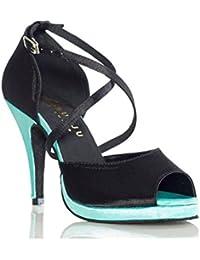 XUE Zapatos Latinos para Mujer/Zapatos para Salón de Baile Sandalia de Seda/Sneaker Performance/Práctica Hebilla...