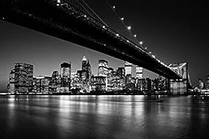 New York Papier Peint Photo/Poster - Manhattan Skyline, Brooklyn Bridge, Henri Silberman 8-Parties (368 x 254 cm)