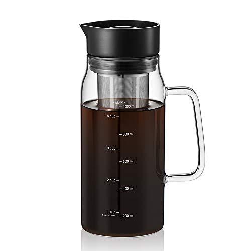 Soulhand Cold Brew Kaffeemaschine, Iced Kaffeemaschine 32 oz / 1000 ml Home Coffee & Tea Maker mit abnehmbarem Kaffee Feinmaschenfilter