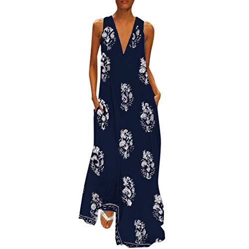 Zegeey Damen Kleid Retro ÄRmellos V-Ausschnitt BöHmen Blumen Drucken Sommer Maxikleid Sommerkleider Strandkleider Blusenkleid (EU-32/CN-S,D4-Dunkelblau) Filz Rock