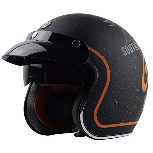Retrò Harley moto casco uomini 3/4 retro aperto faccia casco Cafe Racer moto scooter tappi di sicurezza M L XL con visiera interna sole donne casch