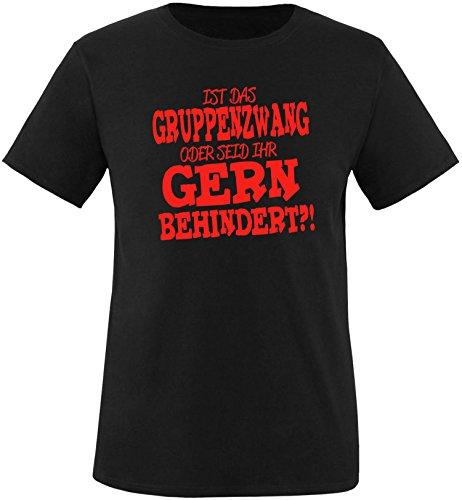 EZYshirt® Ist das Gruppenzwang oder seid ihr gern behindert Herren Rundhals T-Shirt Schwarz/Rot