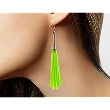 Fancy Dress Earrings - Neon Green