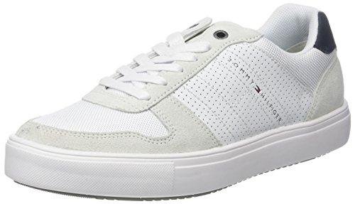 Tommy Hilfiger Herren Lightweight Material Mix Sneaker, Weiß (White 100), 45 EU