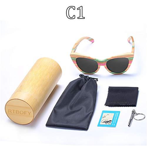 DAIYSNAFDN Holz Sonnenbrille Frauen Bunte Bambus Rahmen Cat Eye Stil Brille Polarisierte Gläser Gläser C1