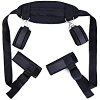 BFFs Negro Cosplay Adultos Hand & Tobillo Cuffs Strap Kit Restricciones de Cama Pareja Flirt Toy Juguete Sexual