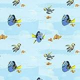 Fabulous Fabrics Disney Findet Dorie Ausflug Babyblau — Meterware ab 0,5m — zum Nähen von Vorhängen und Kinderartikeln