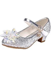 Monissy Niña Zapatos de Vestir Diario Diamantes de Imitación Lentejuelas Tacón Altos Disfraz Bailarinas Actuación Ceremonia Regalo 5-16Años Tamaño28-38 Sandalias de Vestir Azul