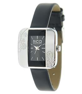 Rica Lewis - 9076312 - Montre Femme - Quartz Analogique - Cadran Noir - Bracelet Cuir Noir