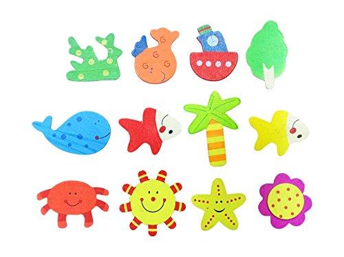PEEGLI Set Von 12 Stück Aus Holz Magnetische Spielzeuge Für Kinder Bildung Lernen Puzzles Spiele Cartoon Kühlschrank Magnet (Kleider Verkauf Spiele)