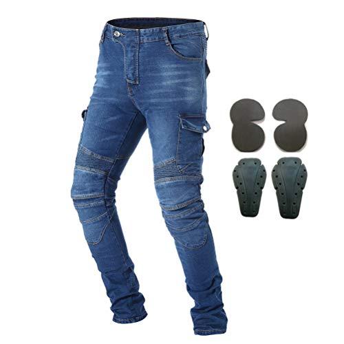Pantaloni da moto, per uomo, Jeans in denim per motociclismo con armatura e 4 ginocchiere, Uomo, Blue, 37W/32L