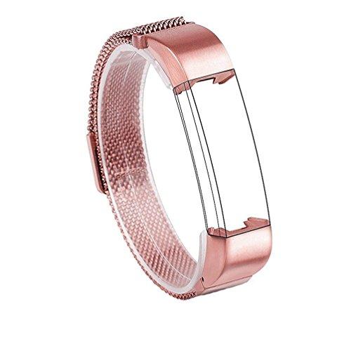 Wearlizer Milanese Schleifenband Ersatz Metall Edelstahl Bügel Sport Armband für Fitbit Alta (Rosa)