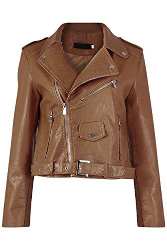 Diana Femmes Nouvelles Faux Cuir Or ou Metal Button Zip Crop Ladies Biker Veste Manteau Marron