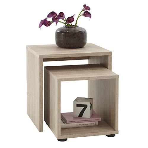 FMD Möbel SB-Design - Juego de 2 mesas auxiliares (45 x 48 x 40 cm, Madera de Roble)