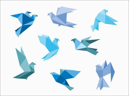Póster 70 x 50 cm: Blue Origami Animals Editors Choice