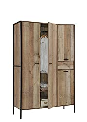 Timber Art Design Stretton Urban Bedroom Double Wardrobe with 4 Doors 1 Drawer Rustic Industrial Oak Effect