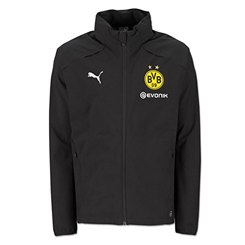 Puma BVB Rain Jacket with Sponsor Logo Chaqueta, Hombre, Black, Small