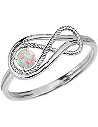 Damen Ring Oktober Geburtsstein Opal Unendlichkeit 10 Karat Weißgold Ring