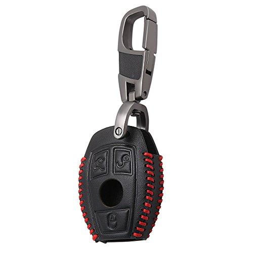 Cuir Sac Cl/é de voiture pour homme Coque porte-cl/és Cha/îne Accessoires rouge