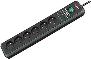 Brennenstuhl 1159541366 Secure-Tec Bloc de 6 Prises 2 m H05VV-F 3G1,5 avec parasurtenseur 19,500 A Noir