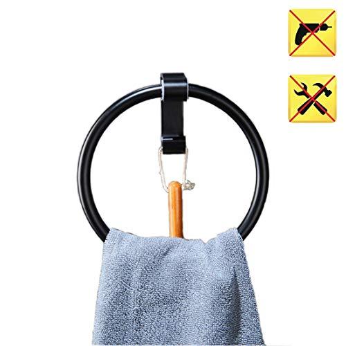 FLM Handtuchring Handtuchhalter ohne Bohren - Aluminium Handtuchring Patentierter Kleber + Selbstklebender 3M-Kleber,Schwarz