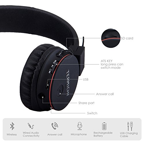 Wireless Bluetooth Kids Headphones, Termichy wireless/wired Foldable Stereo over-Ear headsets with music share port and Built-in Microphone for calling, children Bluetooth Earphones for smartphones PC music gaming (Black)