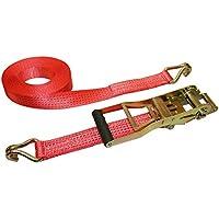 Kerbl - Correa de sujeción y tensión 37173, con palanca larga y rueda dentada, 8 m/50 mm ergonómica, 2500/5000 kg, 2 unidades, color rojo