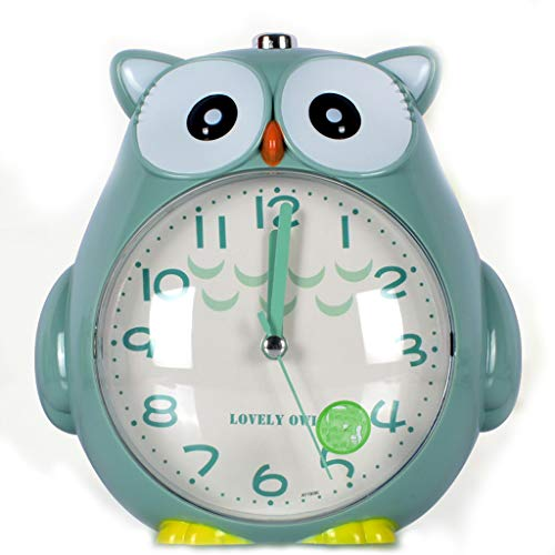 Creative Mute Desktop Reloj de Sonido Doble Reloj de Mesa de radiación Reloj de Noche Luz de Noche para niños Reloj Despertador (Color : Green)