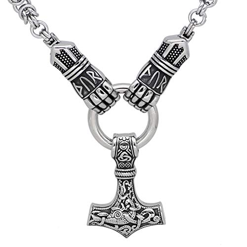 GuoShuang Männer Rostfreier Stahl nordisch Rune Wikinger Hand Halt Thor Hammer Mjolni Anhänger Halskette