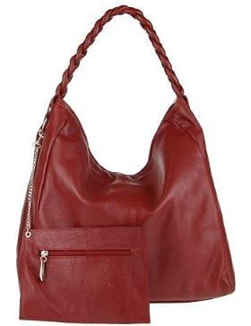 OBC Made in Italy XXL echt Leder DIN-A4 Shopper 2 in 1 Henkeltasche + Schmucktasche Tasche Beuteltasche Schultertasche...