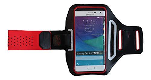Pulsera Deportiva Fitness Cover para Huawei Y6 II Compact, Brazo del teléfono móvil Funda Ligera, Manga Plana Jogging Unisex, Dealbude24 Trendy L Rojo