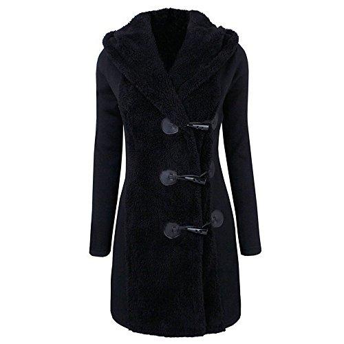 JURTEE Damen Winter Mäntel,Winterjacke Warm Plus Dick Warm Tasten Mantel Mantel Parka Kapuzenpullover Outwear Tasche Mäntel Outdoorjacke(Large,Schwarz)