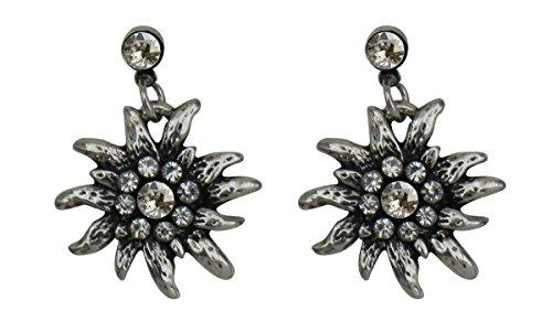 Trachtenschmuck Dirndl Ohrstecker Edelweiss Silberfarben mit Strass Crystal klar Ohrringe