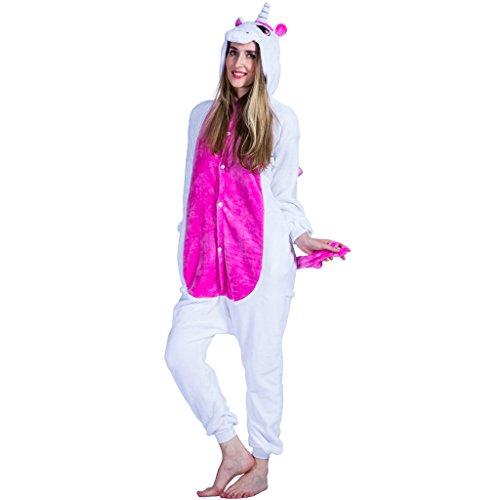 EraSpooky Unisexe Adulte Flanelle Animal Pyjamas Rose Licorne Cosplay Kigurumi