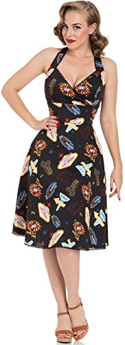 Voodoo Vixen Kleid Lucy Vegas Print Black Flared Dress 8469 (L, Schwarz)