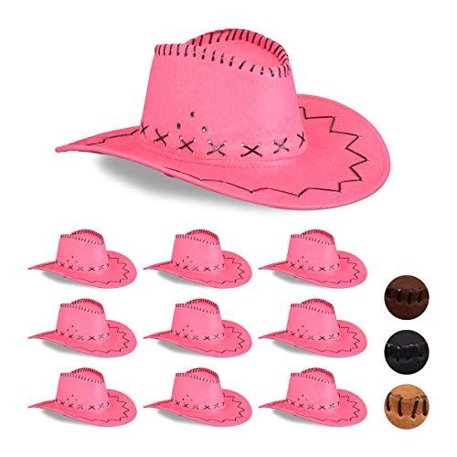 Relaxdays 10 x Cowboyhut Fasching, Westernhut, für Erwachsene, im Westernstyle, Karneval, mit Kopfband, Faschingshut, pink
