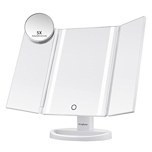 Jerrybox Espejo en Tríptico de Pantalla Táctil con Iluminación LED   Espejo de Maquillaje con Carga USB, con 16 LEDs Naturales, Ajustable 180 ° Iluminador Plegable Cosmético Maquillaje