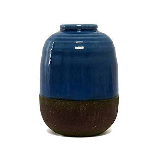 Hunter & Co. Gold getaucht Blau und Dunkelgrau Laguna Vase Modern Keramik Home Dekoration, keramik, blau/grau, M -