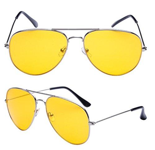 Klassische Sonnenbrille, Pilotenbrille, Retro-Stil, Metallrahmen, sortierte Farben, gelb -