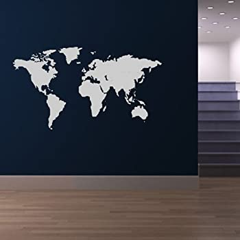 Map of the world wall sticker vinyl decal home mural giant graphic world map wall sticker atlas wall decal art available in 5 sizes and 25 colours small white gumiabroncs Image collections