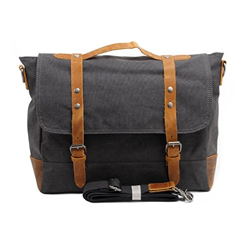 VRIKOO Casual Retro Canvas Satchel Messenger Bag Work Shoulder Bag for Men Women (Dark Grey) Grigio scuro