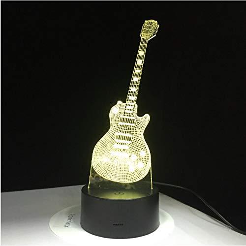 E-gitarre 3d led lampe usb tischlampe baby schlafen nachtlicht musik touch fernbedienung kinder geschenke drop ship