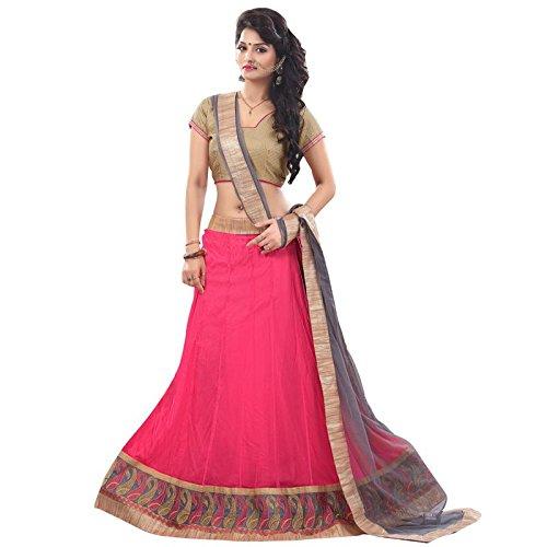 Payal Fashion Women's Net Lehenga Choli (Pfsr007_Red_Free Size)