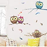 Rureng Cartoon Eule Familie Auf Ästen Wandaufkleber Für Kinder Babys Infant Room Decor Bunte Feder Wandbild Kunst