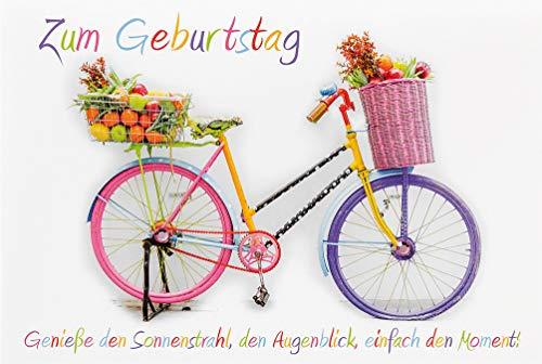 �ckwunschkarte Geburtstag Happy Birthday Card Genieß den Moment (Fahrrad mit Körben) ()