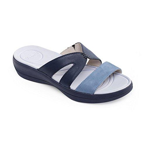donne Padders pelle sandalo Charlie | Extra grande larghezza di EE | calzascarpe libero Blu Combi