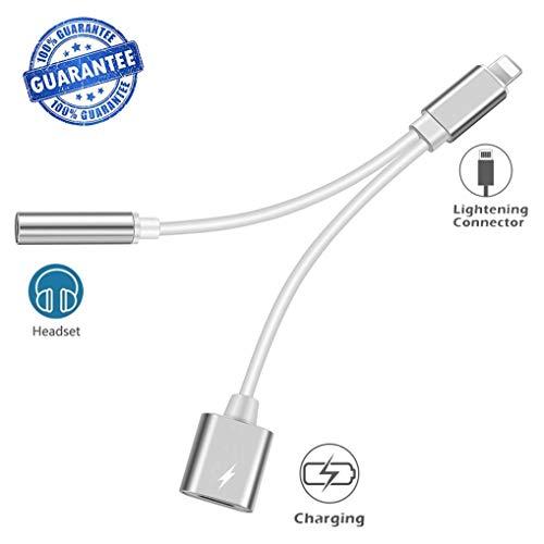 Preisvergleich Produktbild Kopfhörer Aux Klinke auf 3.5-mm-Kopfhöreradapter für iPhone 7 / 7Plus 8 / 8Plus X / XS.AUX-Adapterbuchse (Audio + Charge) für iPhone Dongle-Anschluss Ladegerät Audiokabel Kopfhörer-Adapter-Konverter