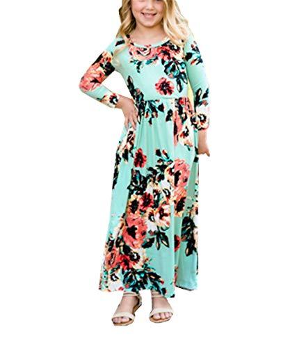 KRUIHAN Muslimisches Mädchen Lang Maxi Kleid - Mode Blumendruck Strand Reisen Elegante Outfits(Grün 140cm) (Muslimische Mädchen)