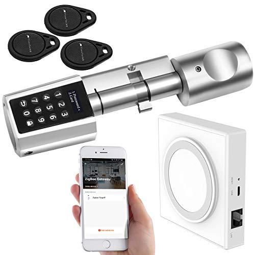 VisorTech Smart Lock: Tür-Schließzylinder mit Steuereinheit für ZigBee und Smart-Home-App (Türschlösser)